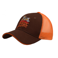 QF Tri-State Meshback Trucker Hat - Brown/Orange