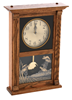 Oak Mantle Pendulum Clock w/Quail Etching USA