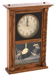 Oak Mantle Pendulum Clock w/Quail Etching USA