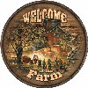 Welcome To The Farm Round Wood Sign