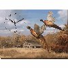 Autumn's Splendor - Pheasants Wrapped Canvas Clock