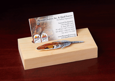 Wood Quail Feather Business Card Holder